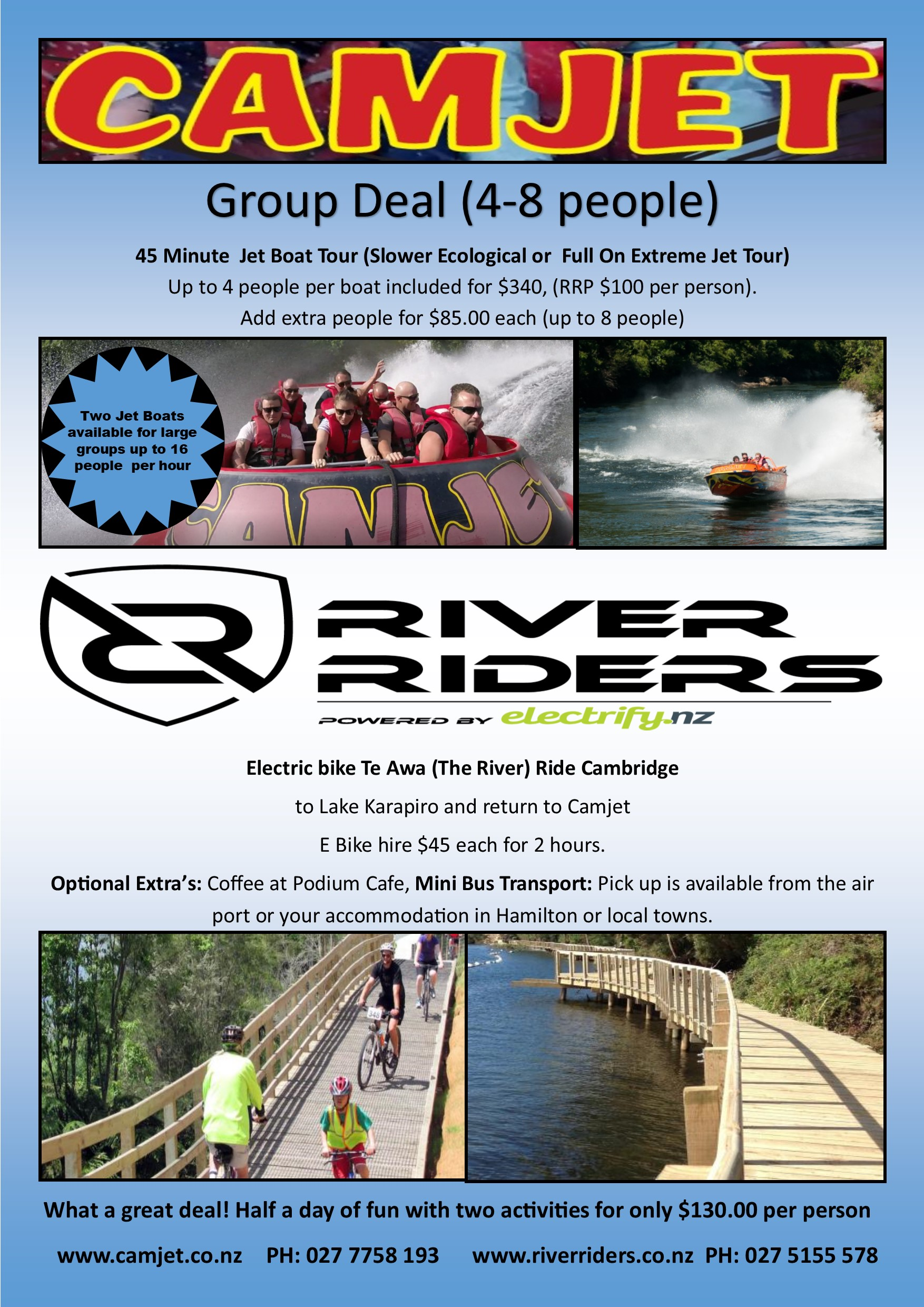 Things to do in Cambridge- 45 minute jet boat tour and 2 hour e-bike hire