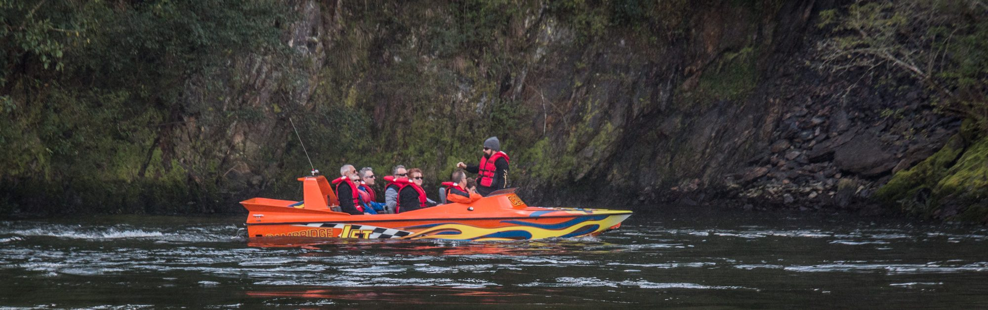Jet boat NZ, with Camjet. Full boat getting commentary