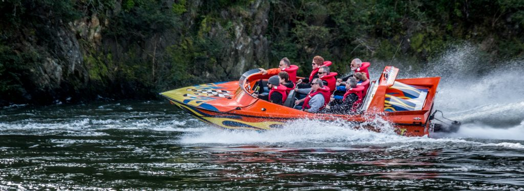 Jet boat NZ with Camjet, Full boat load at speed
