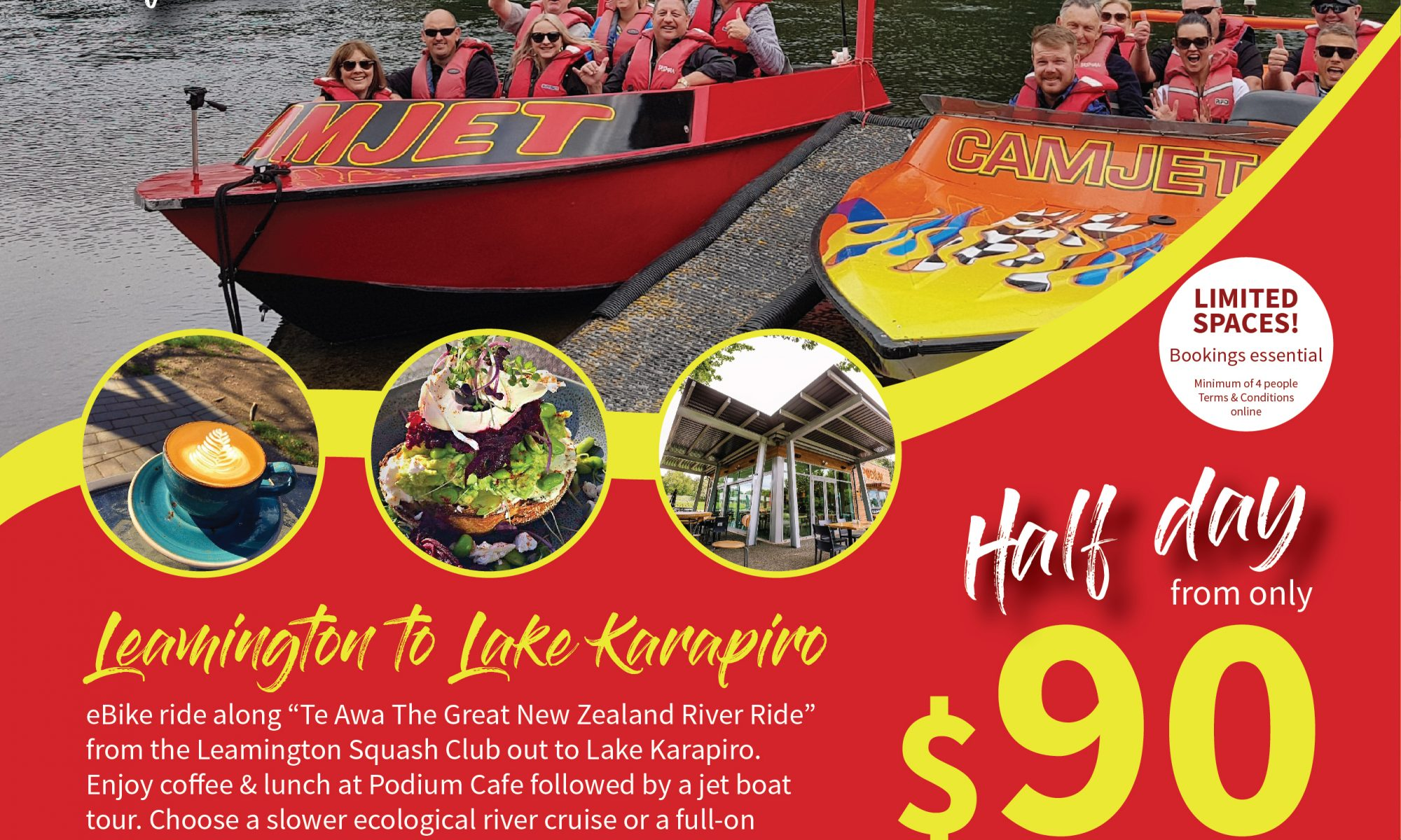 Things to do in New Zealand. Jet boat ans E-bike package from $90 per person. Cambridge NZ