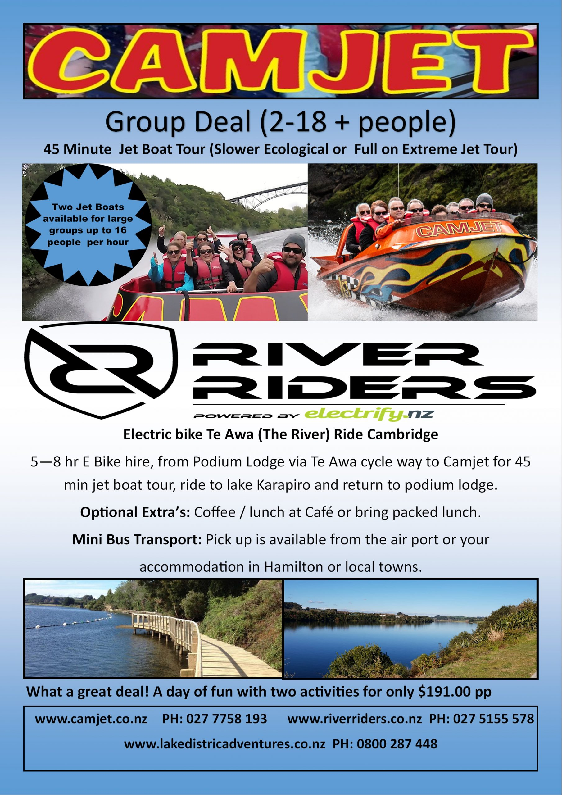Things to do in cambridge jet boat and e bike combo $191 per person