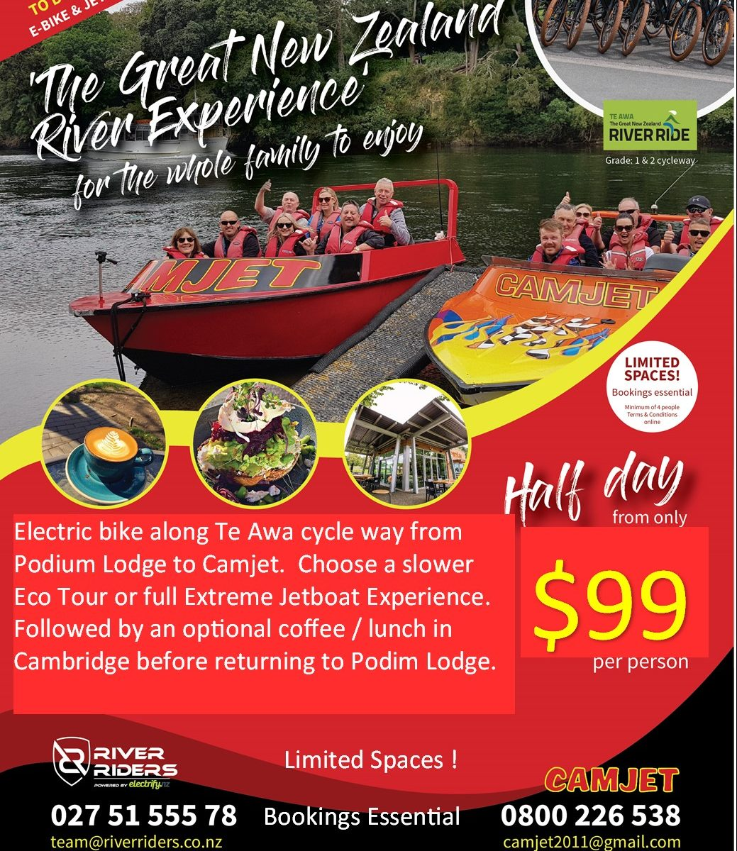 Things to do in camberdge 2 hour jet boat and 15 min e bike $99 per person